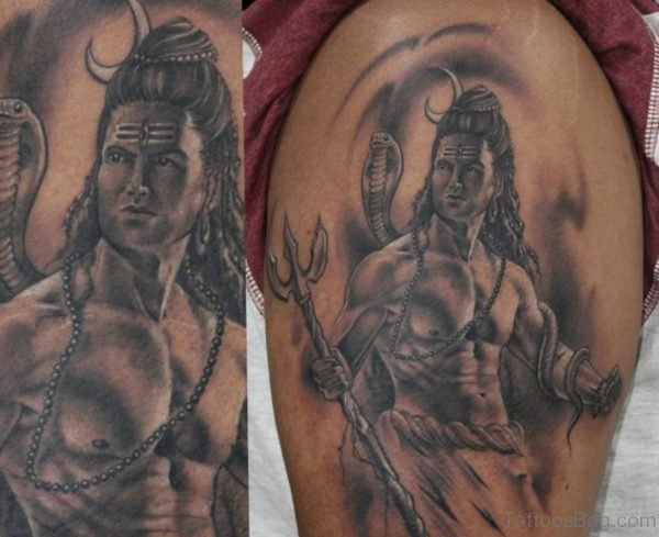 Grey Shiva Tattoo On SHoulder