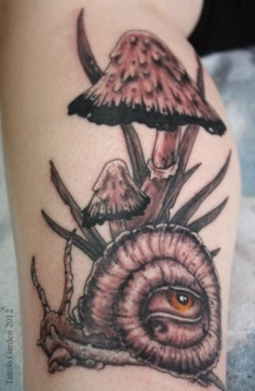 Grey Snail And Mushroom Tattoo On Leg