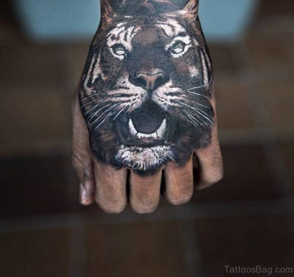 Grey Tiger Tattoo On hand