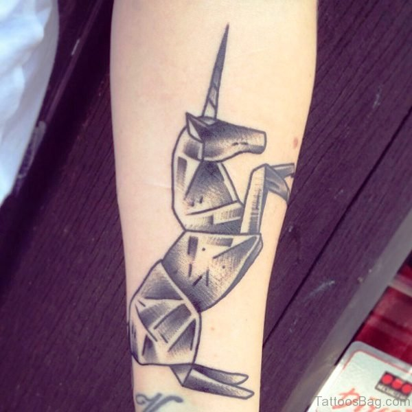Grey Tribal Unicorn Tattoo On Arm