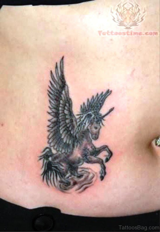 Grey Unicorn Tattoo On Stomach