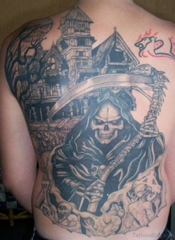 Grim Reaper Alien Tattoo On Back