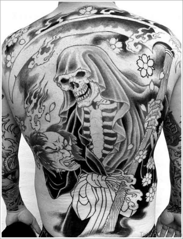 Grim Reaper Skeleton Tattoo On Back