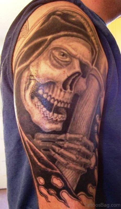 Grim Reaper Tattoo On Shoulder 1