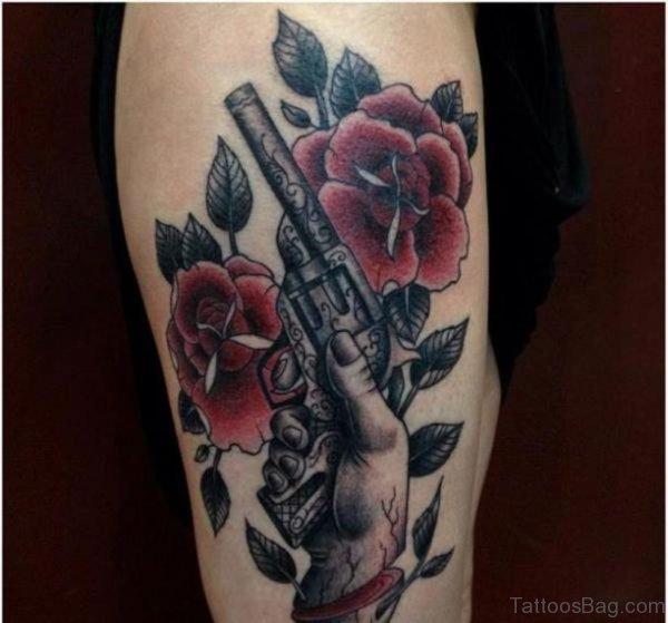 Gun And Flower Tattoo