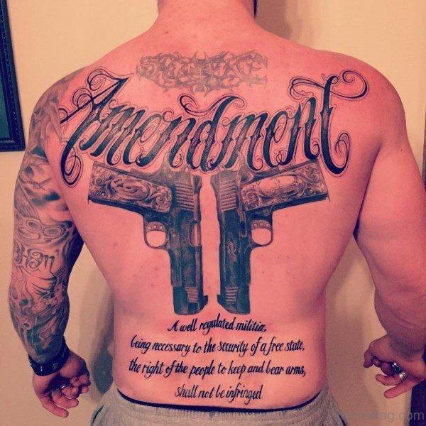 Gun Tattoo On Back