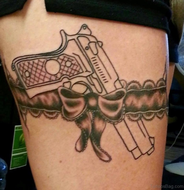 72 brilliant gun tattoos design on thigh. Black Bedroom Furniture Sets. Home Design Ideas