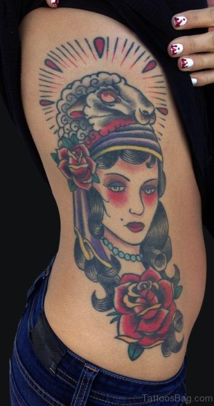 Gypsy Tattoo Design On Rib