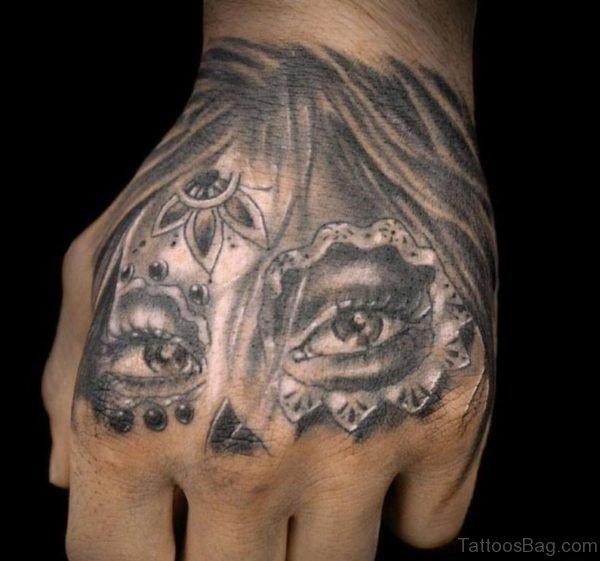Hand Sugar Skull Girl Tattoo
