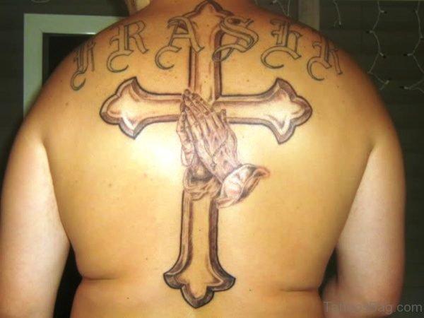 Hands Cross Tattoo On Back