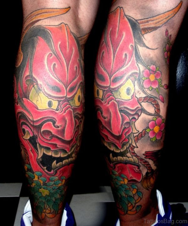 Hannya Mask Leg Sleeve Tattoo Design