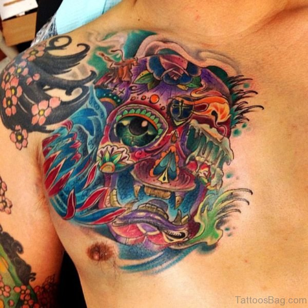 Hannya Mask Sugar Skull Tattoo On Chest