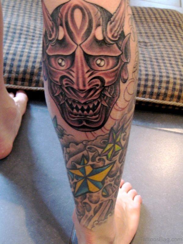 Hannya Mask Tattoo On Leg