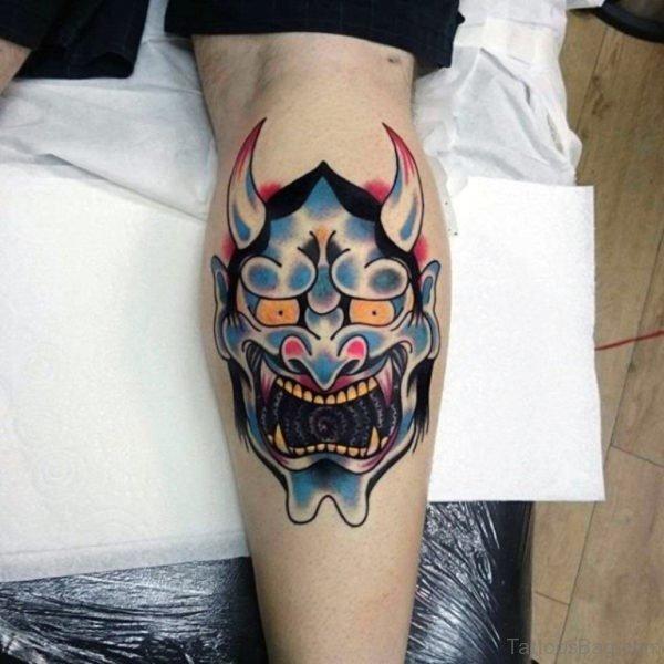 Hannya Mask Tattoo On Leg Calf