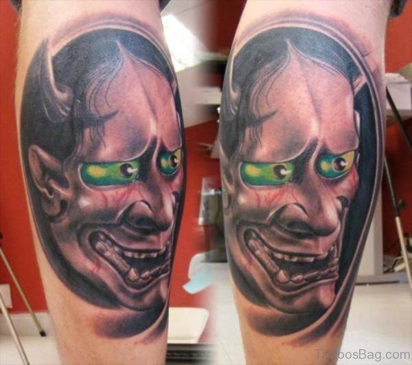 Hannya Mask Tattoo On Leg Image