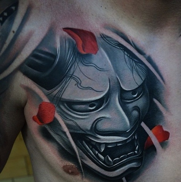 63 classic mask tattoos on chest. Black Bedroom Furniture Sets. Home Design Ideas