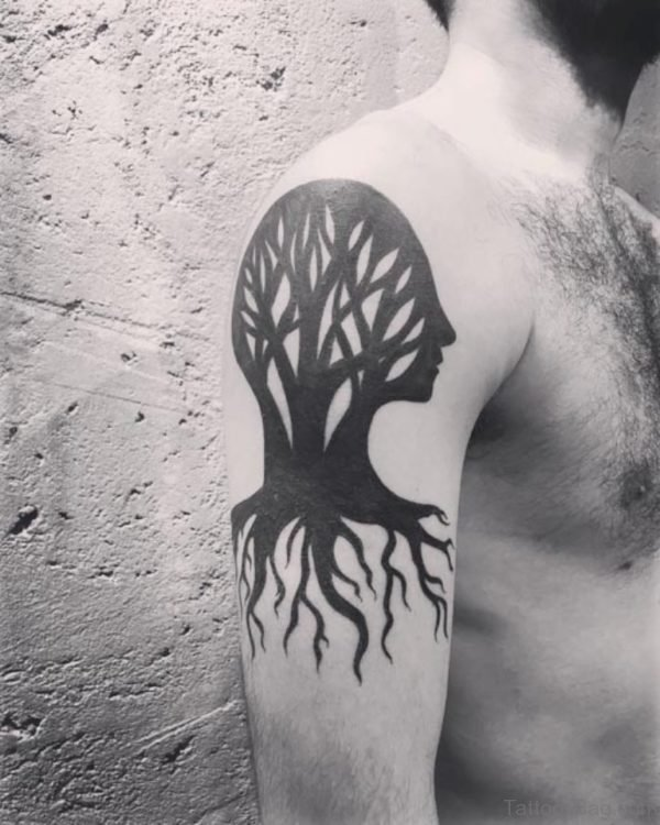 Head Shaped Tree Tattoo