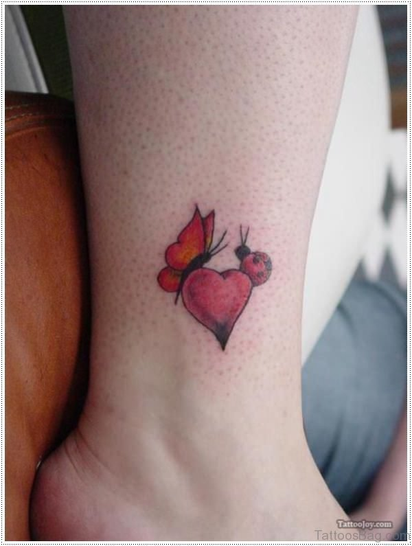 Heart And Bug Tattoo On Foot