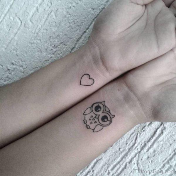 Heart And Owl Tattoo On Wrist