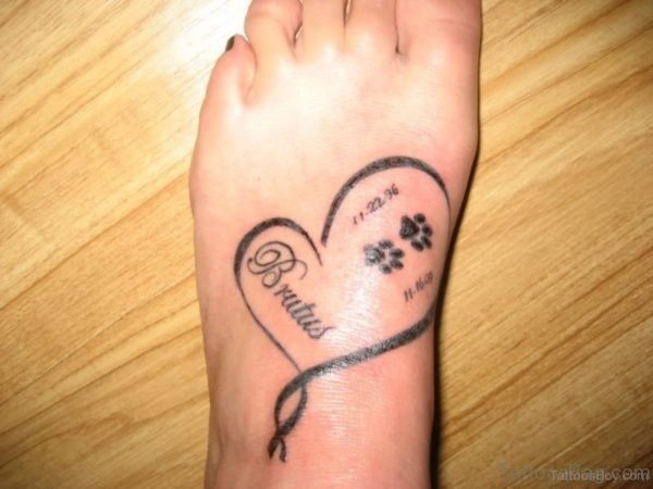 Heart And Paw Tattoo On Foot