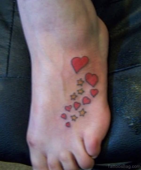 Heart And Star Tattoo On Foot