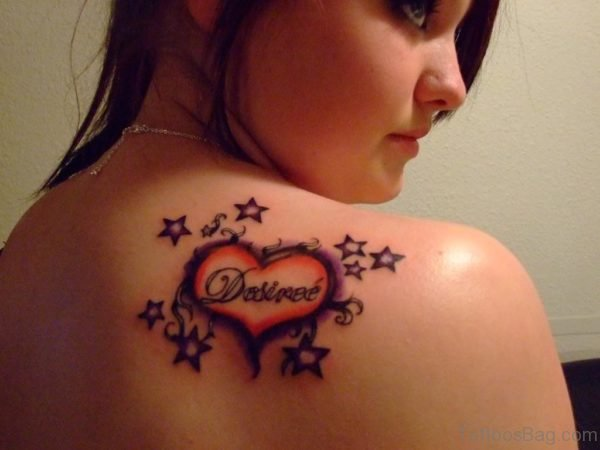 Heart And Stars Tattoo On Back