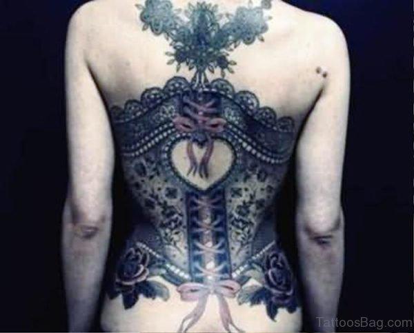 Heart Corset Tattoo On Back