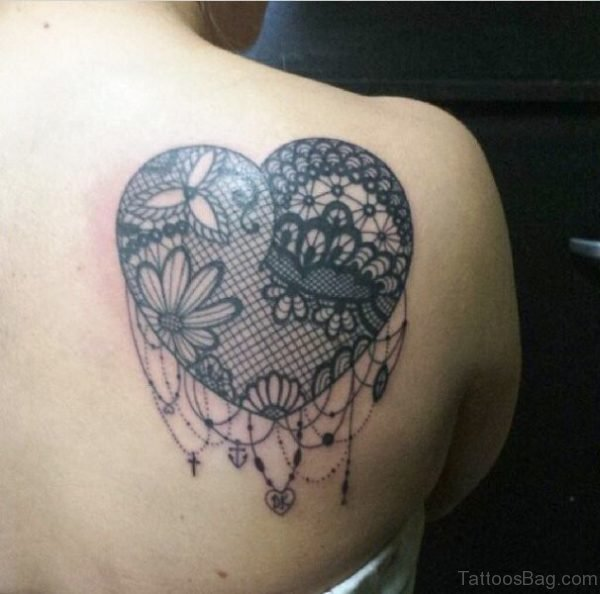 Heart Lace Tattoo On Back Shoulder
