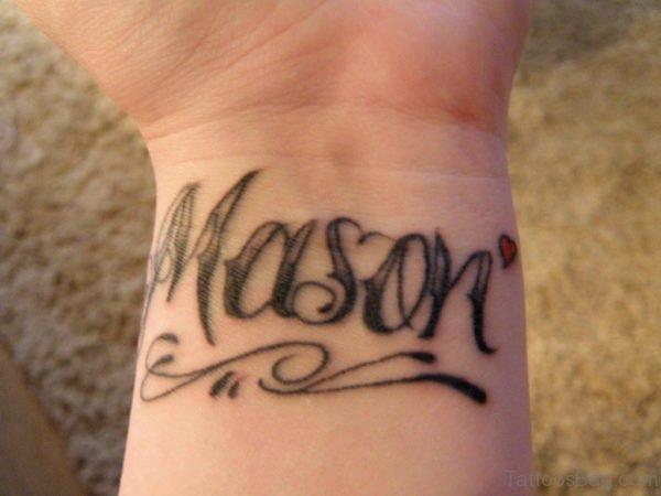 Heart Lettering Wrist Tattoo