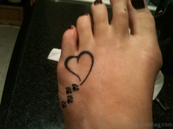 Heart Paw Tattoo On Foot