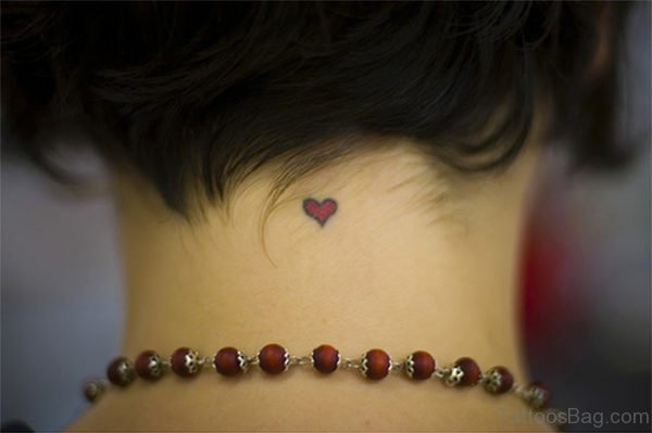 Heart Tattoo On Back Nape