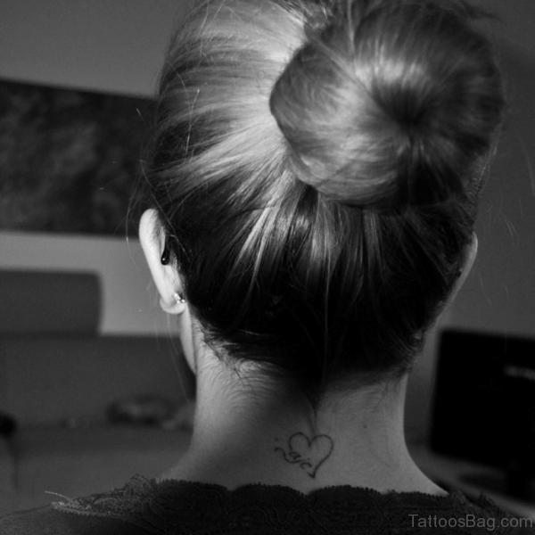 Heart Tattoo On Nape