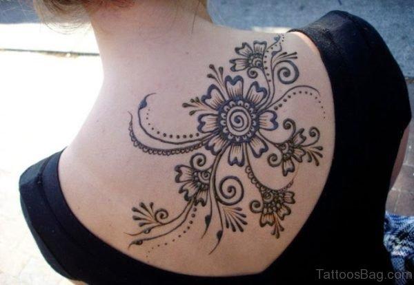 Heena Flower Tattoo On Back