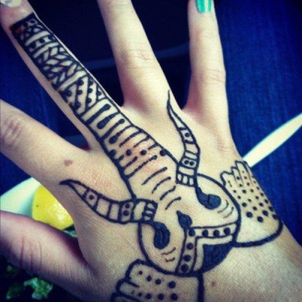 Henna Elephant Tattoo Design On Hand 1