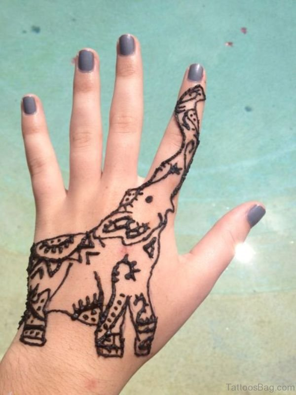 Henna Elephant Tattoo On Hand 1
