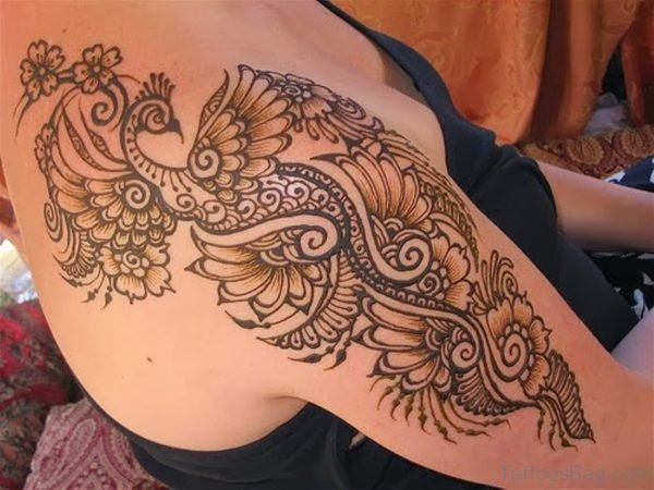 Henna Peacock Tattoo Design
