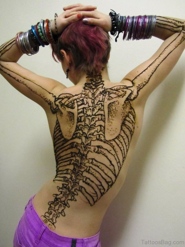 Henna Skeleton Design On Back