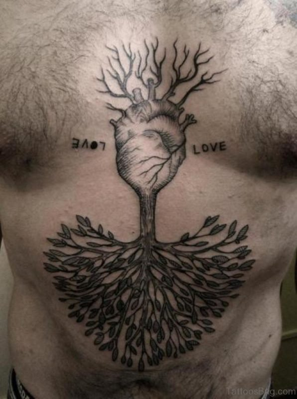 Herat And Tree Tattoo