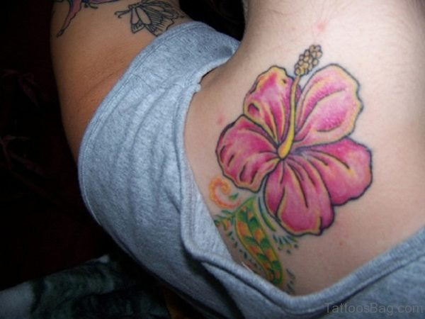 Hibiscus Flower Tattoo On Nape