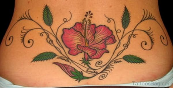 Hibiscus Flower n Leaves Tattoo On Lower Back