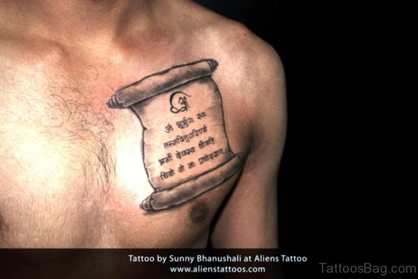 Hindi Wording Scroll Tattoo On Chest