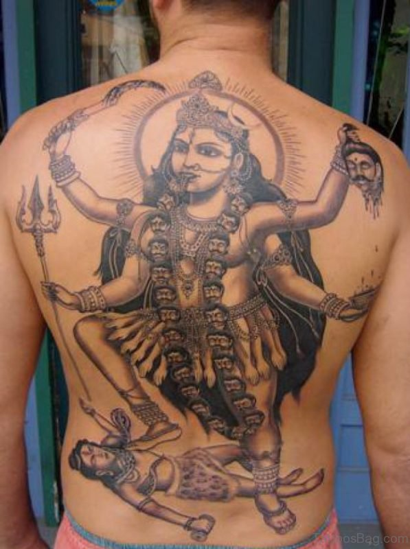Hinduism Tattoo On Back