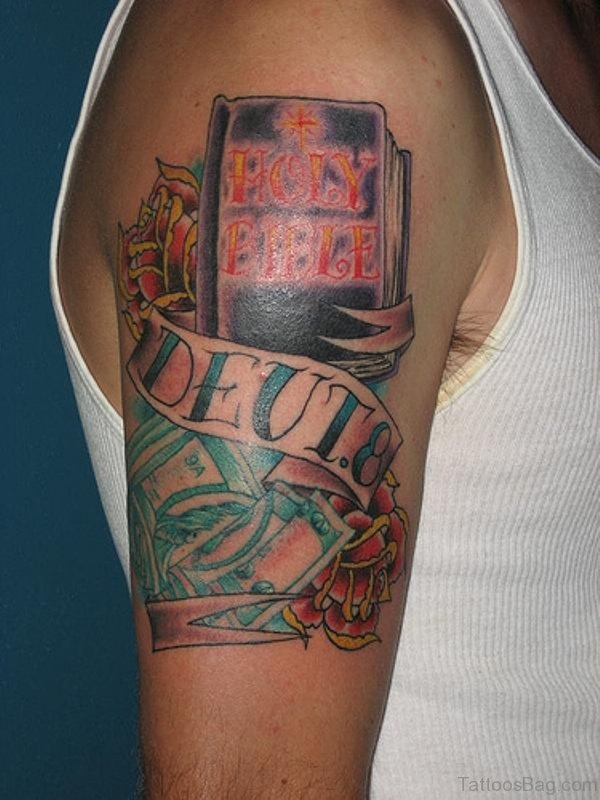 Holy Book Tattoo On Shoulder