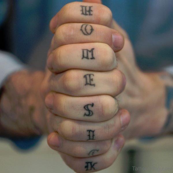 Homesick knuckle Tattoo On Finger