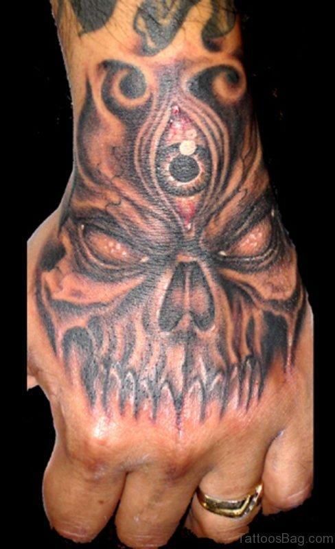 Horror Skull Tattoo On Left Hand