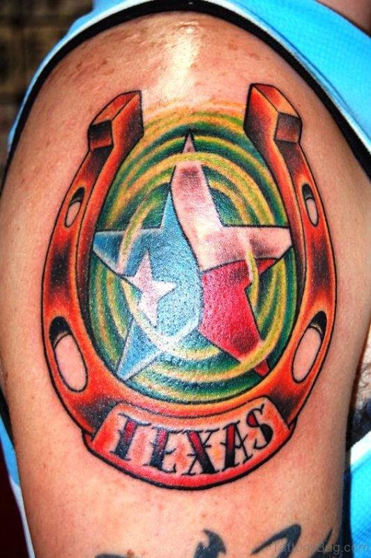 Horseshoe Tattoo On Shoulder