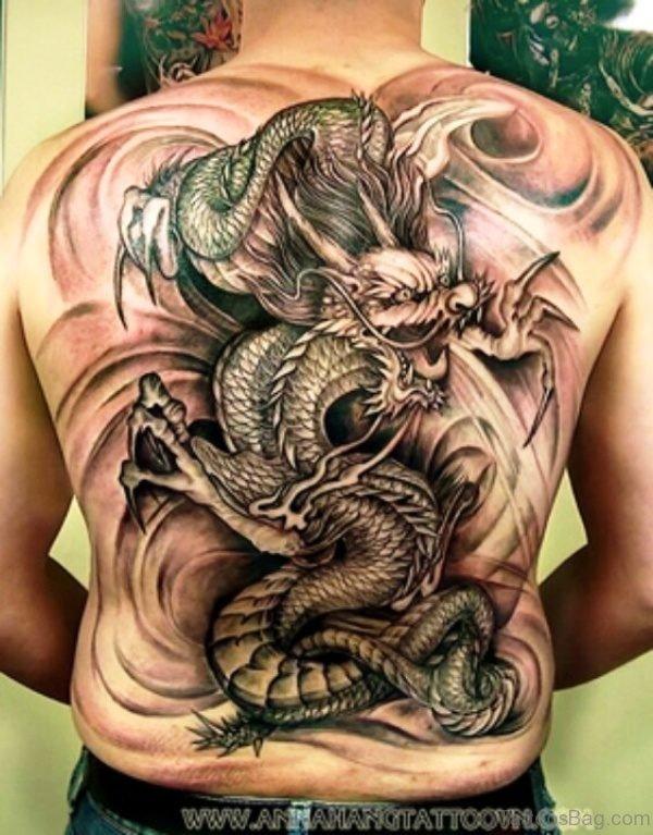 Huge Angry Dragon Tattoo On Back
