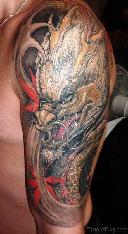 Huge Dragon Head Tattoo On Shoulder
