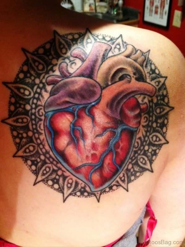 Human Heart Tattoo Design On Shoulder