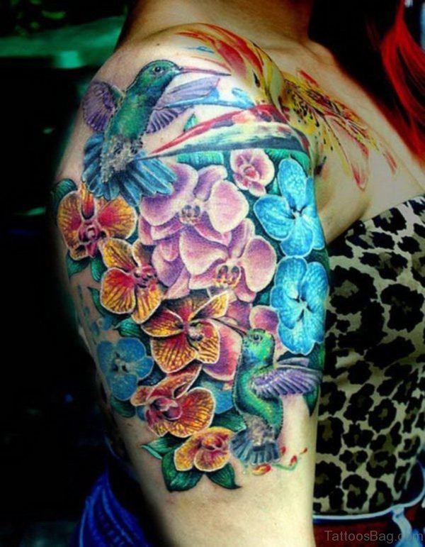 Hummingbird And Flower Tattoo On Shoulder
